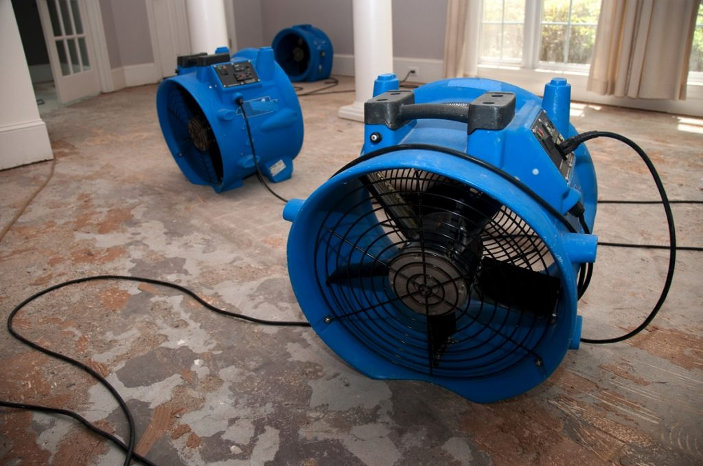 Drying residential home with water damage